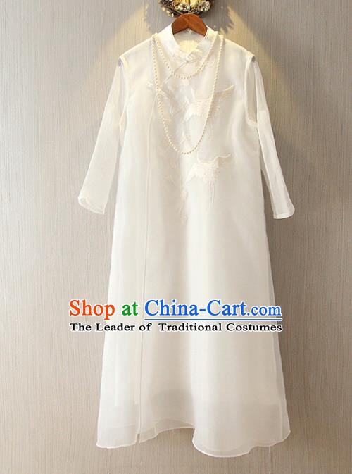 Chinese Traditional National Cheongsam Dress Tangsuit Embroidered White Qipao for Women