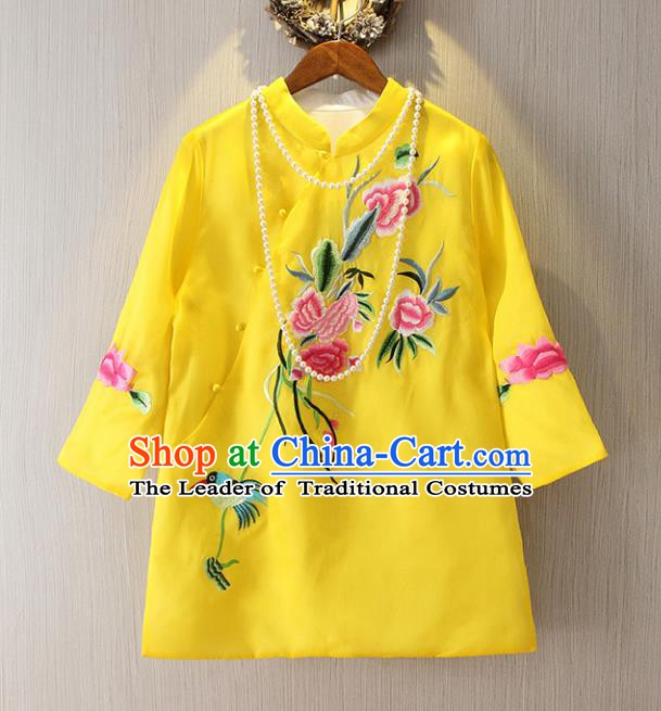 Chinese Traditional National Cheongsam Blouse Costume Embroidered Peony Tangsuit Yellow Shirts for Women