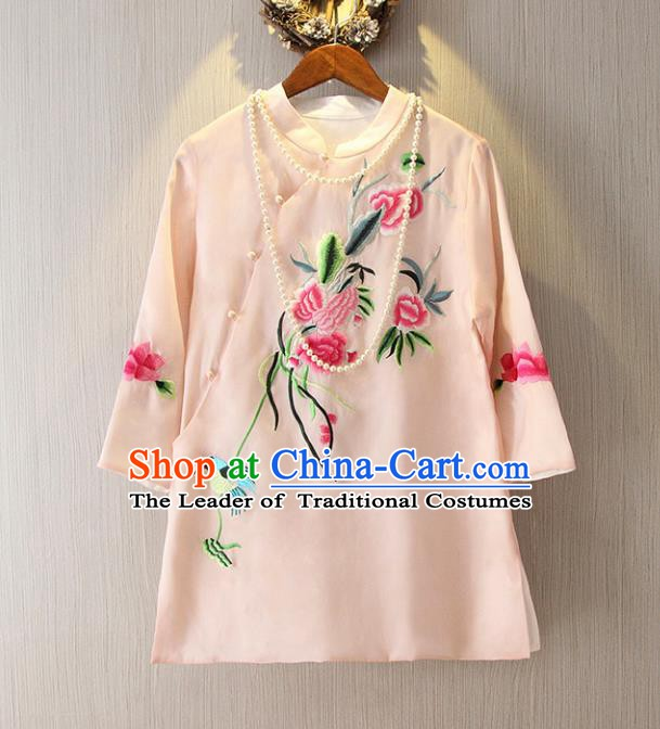 Chinese Traditional National Cheongsam Blouse Costume Embroidered Peony Tangsuit Pink Shirts for Women