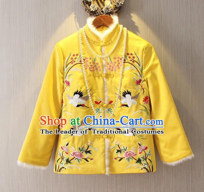 Chinese Traditional National Costume Cheongsam Cotton-padded Jacket Tangsuit Embroidered Yellow Coats for Women