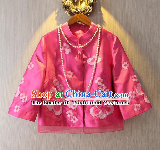 Chinese Traditional National Costume Cheongsam Coats Tangsuit Qipao Rosy Jacket for Women