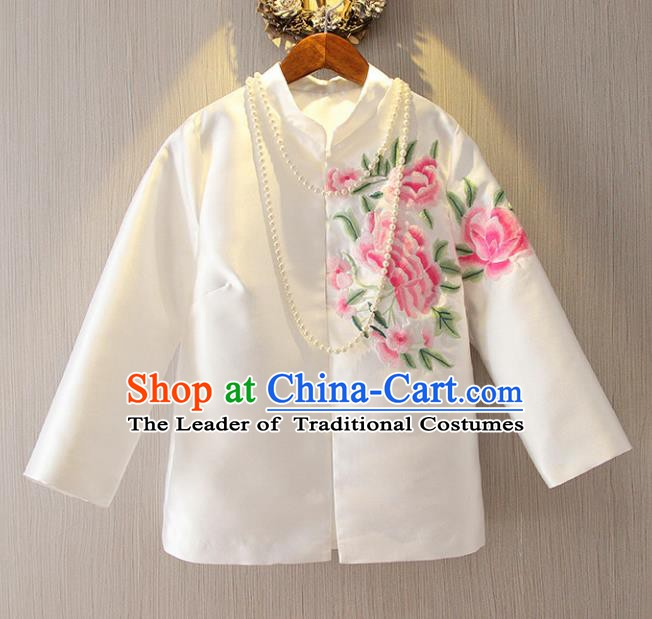 Chinese Traditional National Cheongsam Upper Outer Garment Tangsuit Qipao Embroidered White Jacket for Women