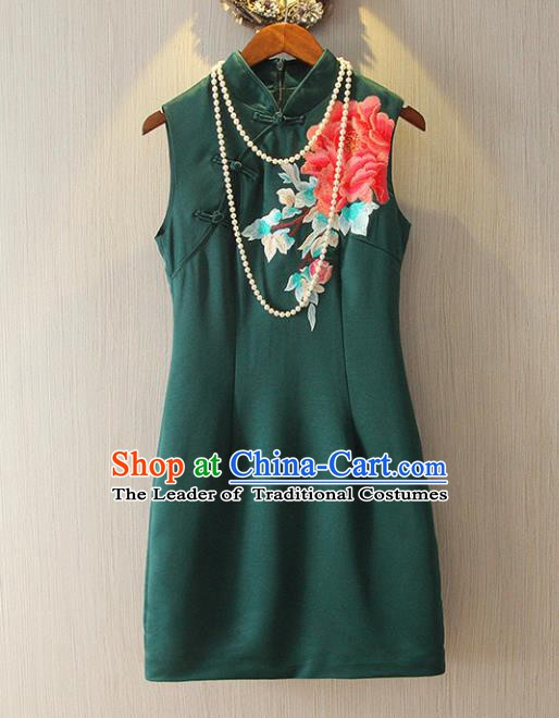 Chinese Traditional National Cheongsam Dress Tangsuit Embroidered Green Qipao for Women