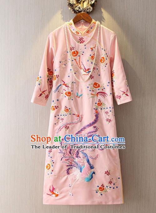 Chinese Traditional National Cheongsam Dress Tangsuit Embroidered Phoenix Pink Qipao for Women