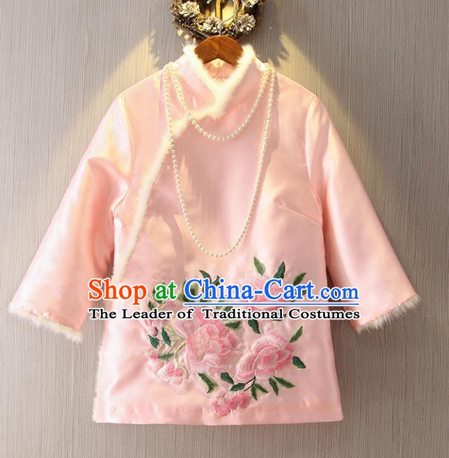 Chinese Traditional National Costume Cheongsam Blouse Tangsuit Embroidered Pink Cotton-padded Jacket for Women