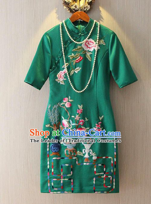 Chinese Traditional National Costume Green Cheongsam Tangsuit Embroidered Qipao Dress for Women
