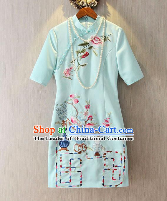 Chinese Traditional National Costume Blue Cheongsam Tangsuit Embroidered Qipao Dress for Women