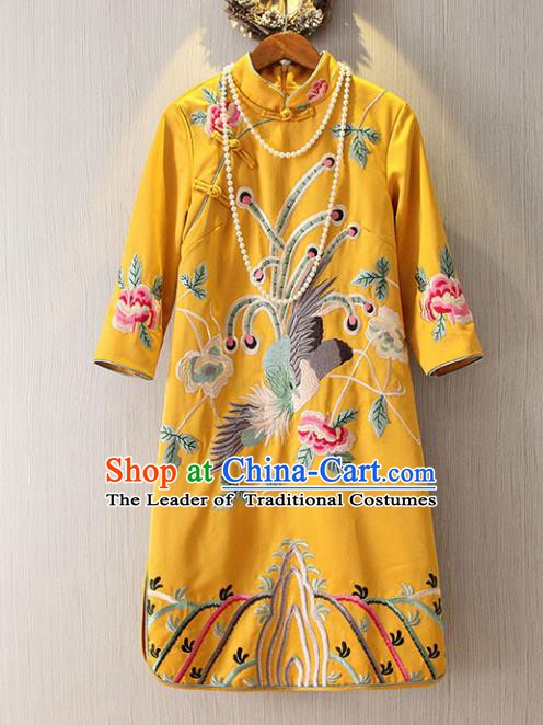 Chinese Traditional National Costume Yellow Cheongsam Tangsuit Embroidered Qipao Dress for Women