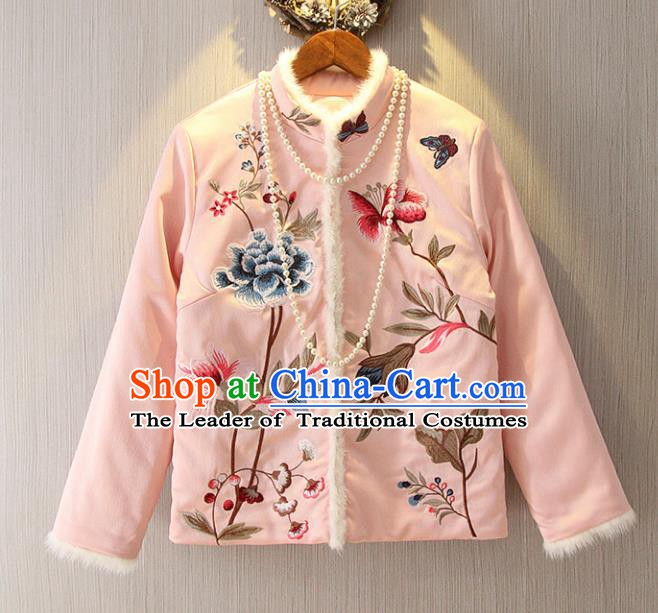 Chinese Traditional National Costume Pink Cheongsam Blouse Tangsuit Embroidered Jacket for Women