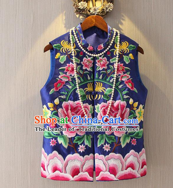 Chinese Traditional National Cheongsam Blue Vest Tangsuit Embroidered Peony Waistcoat for Women