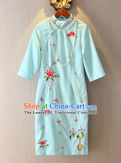 Chinese Traditional National Costume Tangsuit Embroidered Blue Cheongsam Dress for Women