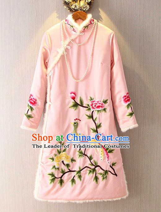 Chinese Traditional National Costume Pink Qipao Tangsuit Embroidered Cheongsam Dress for Women