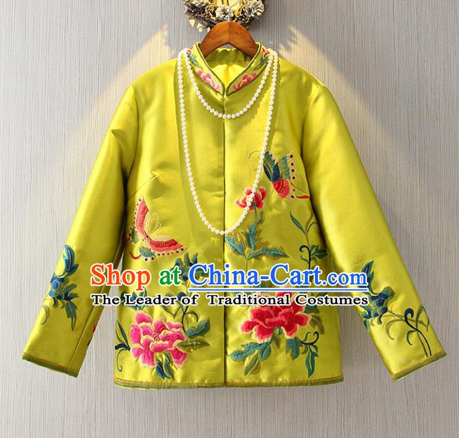 Chinese Traditional National Costume Stand Collar Cheongsam Blouse Tangsuit Embroidered Yellow Shirts for Women