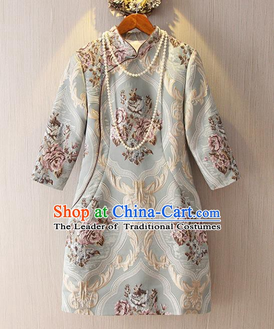 Chinese Traditional National Costume Stand Collar Cheongsam Tangsuit Embroidered Qipao Dress for Women
