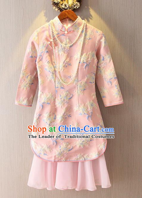 Chinese Traditional National Costume Stand Collar Pink Cheongsam Tangsuit Embroidered Qipao Dress for Women