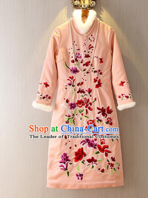 Chinese Traditional National Costume Embroidered Pink Cheongsam Tangsuit Qipao Dress for Women