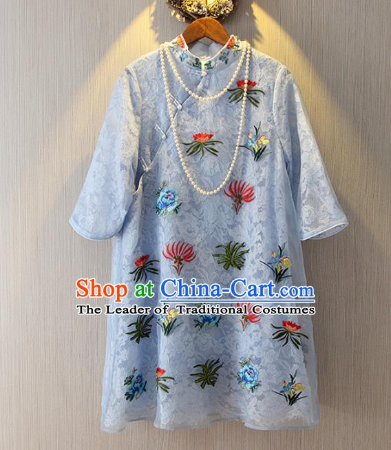 Chinese Traditional National Costume Embroidered Cheongsam Tangsuit Blue Lace Qipao Dress for Women