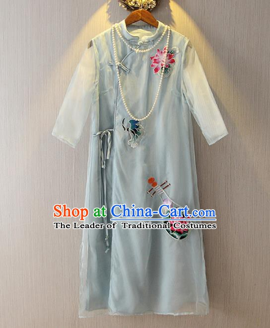 Chinese Traditional National Costume Embroidered Light Blue Cheongsam Tangsuit Qipao Dress for Women
