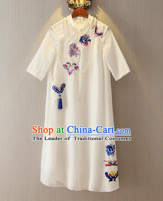 Chinese Traditional National Costume White Qipao Tangsuit Embroidered Butterfly Cheongsam Dress for Women