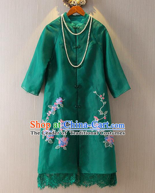 Chinese Traditional National Costume Green Coats Tangsuit Embroidered Cheongsam Dust Coat for Women