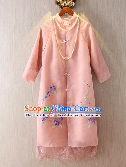Chinese Traditional National Costume Pink Coats Tangsuit Embroidered Cheongsam Dust Coat for Women