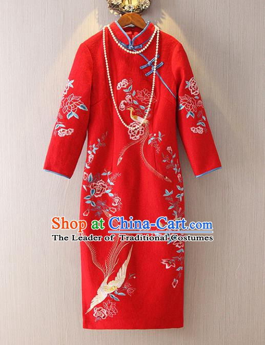 Chinese Traditional National Costume Stand Collar Red Cheongsam Tangsuit Embroidered Qipao Dress for Women