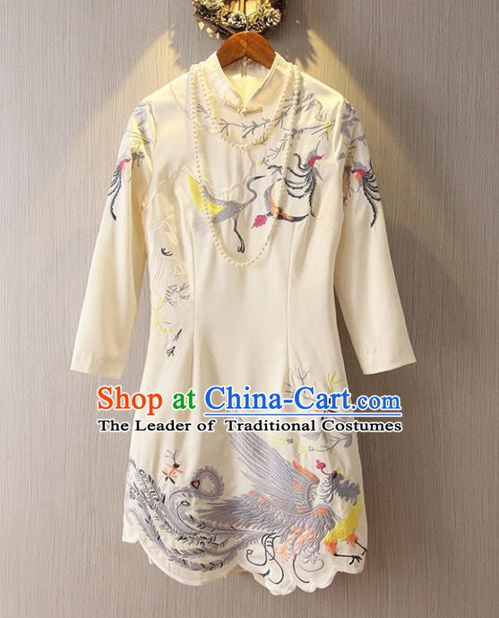 Chinese Traditional National Costume Stand Collar White Cheongsam Tangsuit Embroidered Qipao Dress for Women