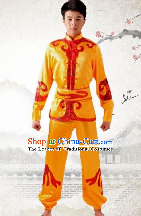 Traditional Chinese Yangge Dance Fan Dance Costume, Folk Drum Dance Dragon Boat Yellow Uniform Yangko Clothing for Men