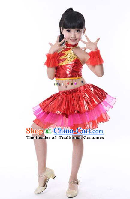 Chinese Classical Stage Performance Jazz Dance Costume, Children Modern Dance Red Bubble Dress for Kids