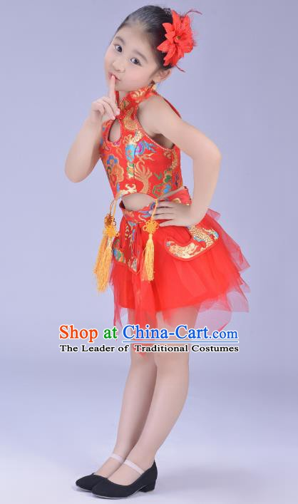Chinese Classical Stage Performance Dance Costume, Children Yangko Dance Red Bubble Dress for Kids