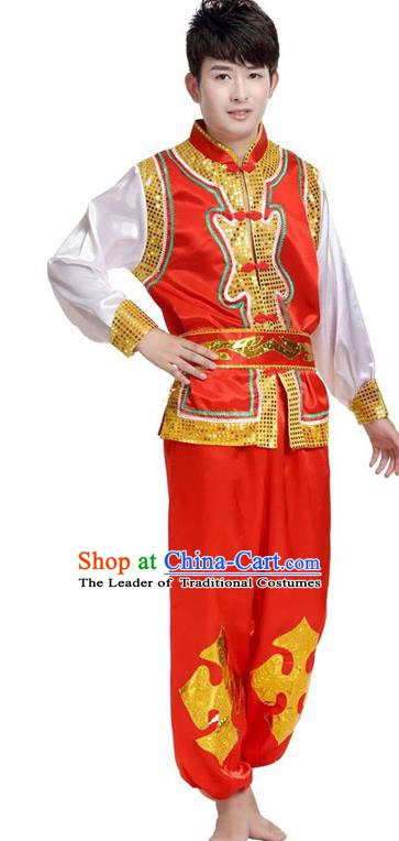 Traditional Chinese Yangge Dance Fan Dance Costume, Folk Drum Dance Red Uniform Yangko Clothing for Men
