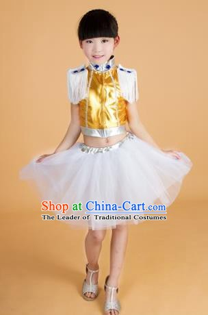 Chinese Classical Stage Performance Modern Dance Costume, Children Jazz Dance Bubble Dress for Kids
