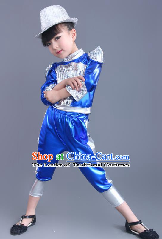 Chinese Classical Stage Performance Jazz Dance Blue Costume, Children Modern Dance Clothing for Kids