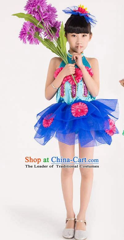 Chinese Classic Stage Performance Chorus Singing Group Costume Children Modern Dance Blue Dress for Kids