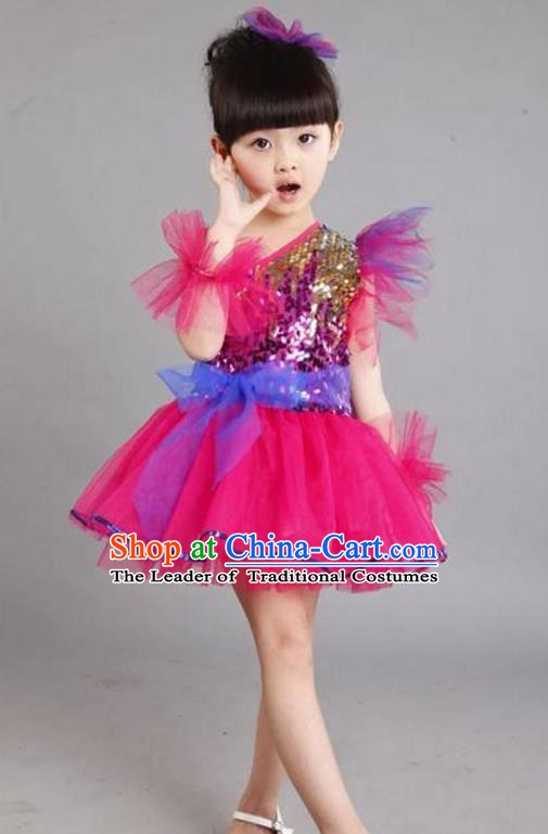Chinese Classic Stage Performance Costume Children Modern Dance Princess Rosy Bubble Dress for Kids