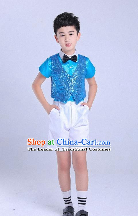 Traditional Chinese Modern Dance Compere Costume, Chorus Singing Group Boys Clothing for Kids