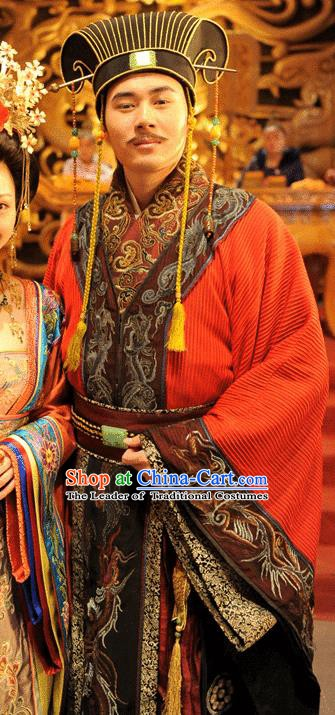 Traditional Chinese Ancient Monarch Costume Tang Dynasty Emperor Li Heng Replica Costume for Men