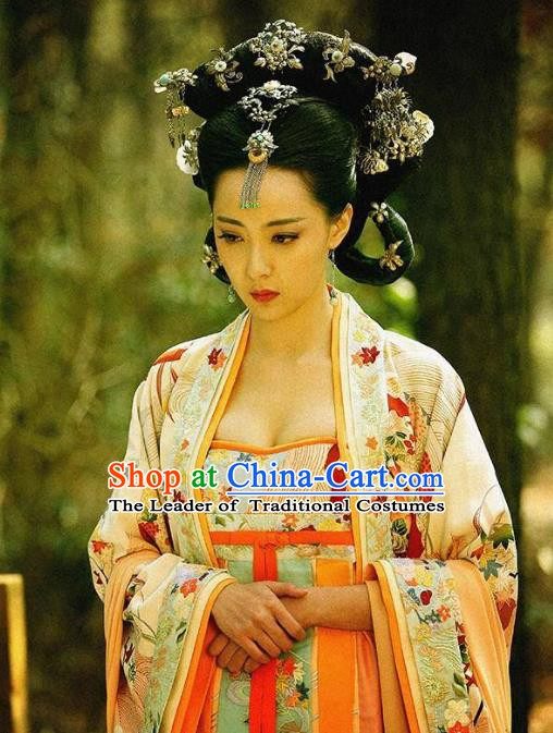 Traditional Chinese Ancient Palace Lady Costume, Tang Dynasty Princess Gaoyang Replica Costume for Women