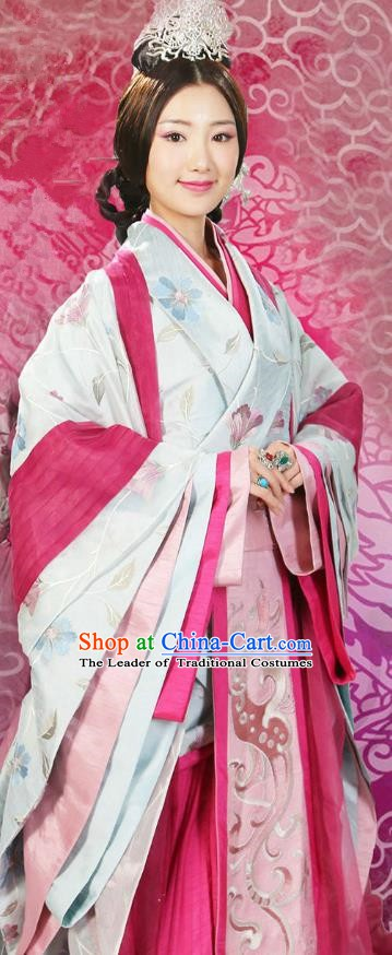 Chinese Ancient Han Dynasty Empress Shangguan Hanfu Dress Ancient Court Queen Embroidered Replica Costume for Women