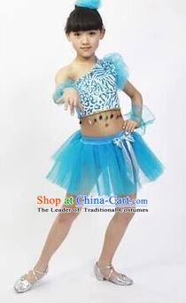 Top Grade Stage Performance Latin Dance Costume, Professional Modern Dance Blue Bubble Dress for Kids