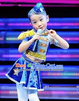 Top Grade Stage Performance Jazz Dance Costume, Professional Modern Dance Blue Dress for Kids