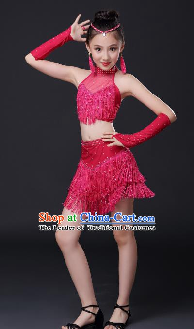 Top Grade Stage Performance Jazz Dance Costume, Professional Modern Dance Rosy Tassel Dress for Kids