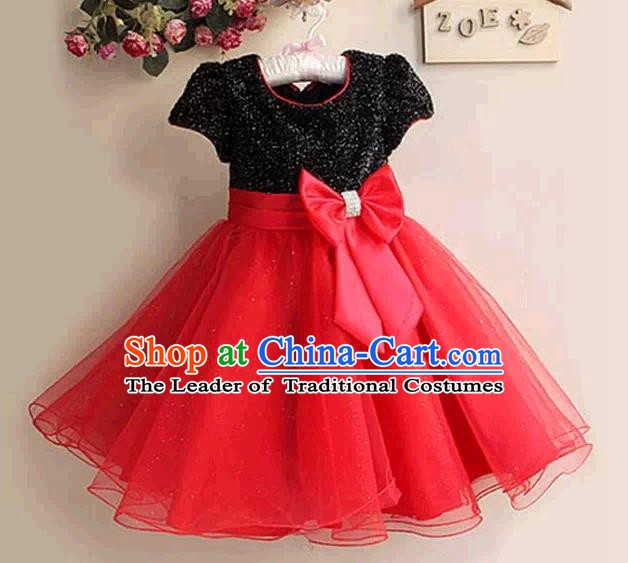 Top Grade Stage Performance Children Compere Costume, Professional Chorus Singing Red Dress for Kids