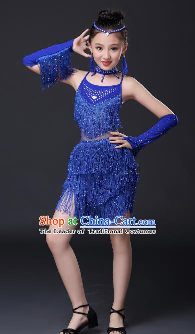 Top Grade Stage Performance Jazz Dance Costume, Professional Modern Dance Blue Tassel Uniforms for Kids