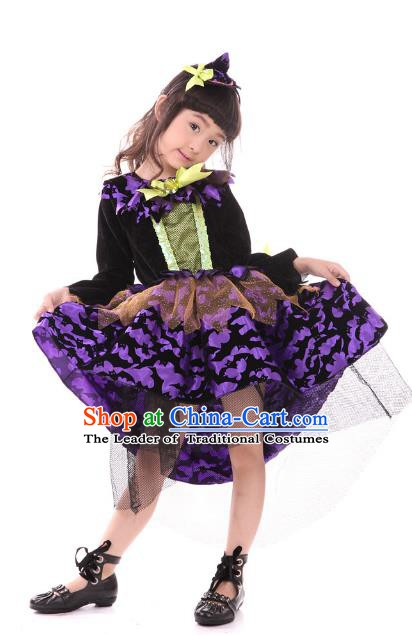 Top Grade Halloween Stage Performance Costume, Professional Modern Dance Cosplay Witch Dress for Kids