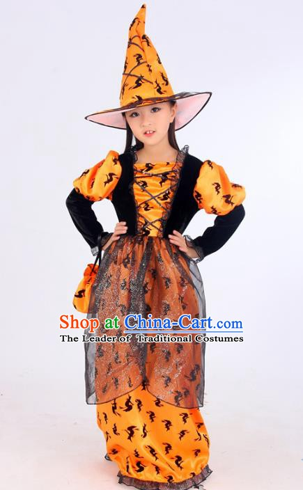 Top Grade Halloween Stage Performance Costume and Hats, Professional Modern Dance Cosplay Witch Dress for Kids