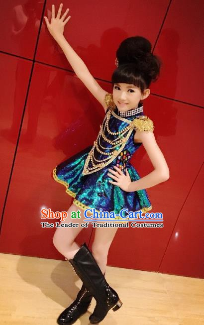 Top Grade Stage Performance Jazz Dance Costume, Professional Compere Modern Dance Dress for Kids