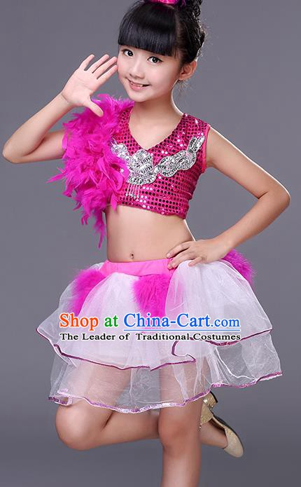 Top Grade Stage Performance Jazz Dance Costume, Professional Modern Dance Rosy Clothing for Kids