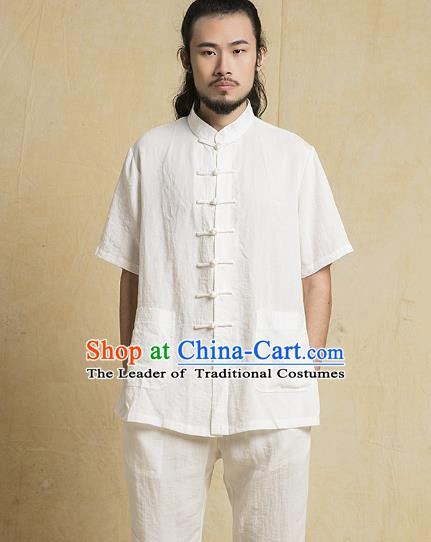 Chinese Kung Fu Costume Plated Buttons White Linen Suits Martial Arts Gongfu Wushu Tang Suits Tai Chi Clothing for Men