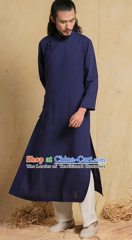 Top Grade Kung Fu Costume Martial Arts Training Navy Gown Gongfu Wushu Tang Suit Clothing for Men